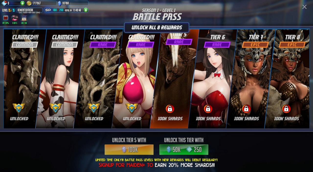 League of Maidens Collecting Shards and the Battle Pass Updated with Missions